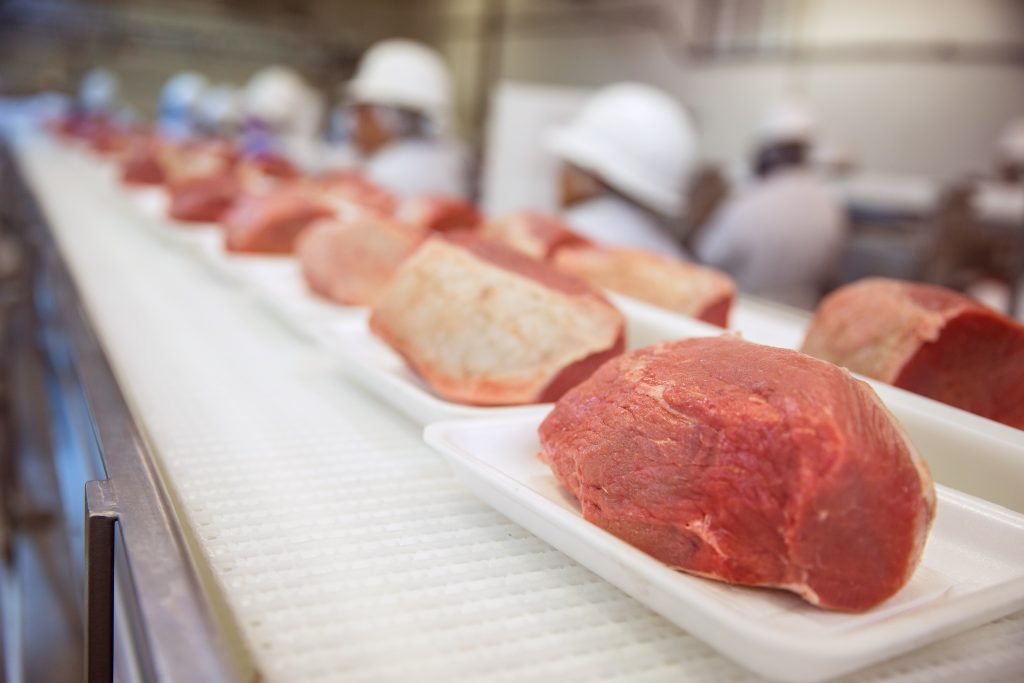 Conveyor belt with packaged steaks at meat packing facility.